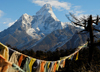 Khumbu region, Solukhumbu district, Sagarmatha zone, Nepal: prayer flags in front of Ama Dablam mountain - Everest area - photo by E.Petitalot