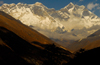 Khumbu region, Solukhumbu district, Sagarmatha zone, Nepal: view of Everest and Lhotse mountains from Tengboche - south faces - photo by E.Petitalot