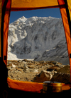 Khumbu region, Solukhumbu district, Sagarmatha zone, Nepal: expedition tent at the Island peak base camp - Imja Tse - photo by E.Petitalot