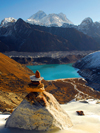 Khumbu region, Solukhumbu district, Sagarmatha zone, Nepal: view of Gokyo lake and the Everest range on the way to Renjo pass - photo by E.Petitalot