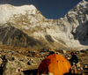 Khumbu region, Solukhumbu district, Sagarmatha zone, Nepal: tent at Island peak base camp - Imja Tse - photo by E.Petitalot