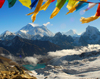Khumbu region, Solukhumbu district, Sagarmatha zone, Nepal: incredible landscape of Everest, Lhotse and Makalu mountains from Renjo pass - tarcho flags - photo by E.Petitalot