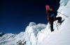 Khumbu region, Solukhumbu district, Sagarmatha zone, Nepal: climbing snowboarder at 5900m on Mera Peak - Hinku Valley - Sagarmatha National Park - photo by S.Egeberg