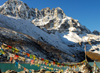 Khumbu region, Solukhumbu district, Sagarmatha zone, Nepal: prayer flags in front of Gokyo lake - tarcho - photo by E.Petitalot