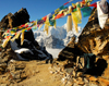 Khumbu region, Solukhumbu district, Sagarmatha zone, Nepal: prayer flags at Renjo pass - tarcho - photo by E.Petitalot
