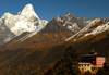 Khumbu region, Solukhumbu district, Sagarmatha zone, Nepal: Ama Dablam mountain and the famous Tengboche monastery, Khumbu' s largest gompa - photo by E.Petitalot