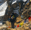 Khumbu region, Solukhumbu district, Sagarmatha zone, Nepal: trekkers on the way to Renjo pass - photo by E.Petitalot
