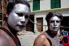 Kathmandu, Nepal: Hindu young men with faces painted in silver at Holi festival - photo by G.Koelman