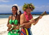 New Caledonia / Nouvelle Calédonie - Noumea - Amédée islet: Kanaki entertainers serenade day (photo by R.Eime)