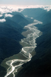 New Zealand - South island - Milford: Landsborough River backlit - photo by Air West Coast