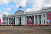 Managua, Nicaragua: Palace of Culture - National Museum - designed by the engineer Pablo Dambach - FSLN iconography, Sandino, Fonseca and Ortega - Palacio Nacional de la Cultura - Museo Nacional - Plaza de la Revoluci�n / Plaza de la Rep�blica - photo by M.Torres