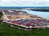 Port Harcourt, Rivers State, Nigeria: view of the port - container terminal and the Bonny River  - photo by A.Bartel