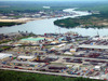 Port Harcourt, Rivers State, Nigeria: view of the port - Bonny River and harbor facilities seen from the air - photo by A.Bartel