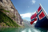 Norway / Norge - Geirangerfjord (Møre og Romsdal): leaving - Norwegian flag - Unesco world heritage site (photo by Juraj Kaman)