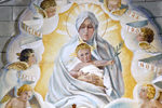 Scotland - Orkney - Lamb Holm island - Closeupof the Alterpiece at the Italian Chapel, Camp 60 -. The Madonna and Childbased on a painting by Italian artist Barabina - photo by Carlton McEachern