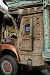 Peshawar, NWFP, Pakistan: decorated carved wooden doors of a truck - photo by G.Koelman