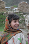 Jabbar, Siran Valley, North-West Frontier Province, Pakistan: smiling girl with covered head - hijab - photo by R.Zafar