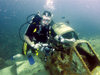 Palau: diver and wreck of WWII Plane - underwater image - photo by B.Cain