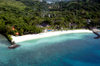 Arakabesan Island, Koror state, Palau: white sand beach of Palau Pacific Resort, built over a Japanese seaplane base - from the air - photo by B.Cain