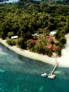 Carp / Ngercheu Island, Koror state, Palau: beach and pier from the air  - photo by B.Cain