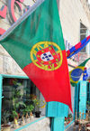 Bethlehem, West Bank, Palestine: Portuguese flag on a shop front - photo by M.Torres
