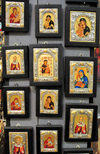 Bethlehem, West Bank, Palestine: assorted Christian icons at an handicraft shop - photo by M.Torres