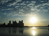 Panama City / Ciudad De Panam�: sun, sea and skyline - skyscrapers silhouette at Punta Paitilla and Panama bay - sunset - Pacific ocean - photo by H.Olarte