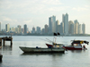 Panama City / Ciudad de Panama: fishing boats at Casco Viejo and skyline of Punta Paitilla and Punta Pacifica - photo by H.Olarte