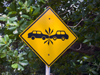 Panama City: a funny and unique sign in Panama makes drivers aware of collision danger ahead - unusual traffic sign - photo by H.Olarte