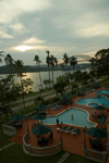 Panama - Panama Canal: Bridge of the Americas - Pacific entrance to the Panama Canal / puente de las Americas - formerly the Thatcher Ferry Bridge - hotel swimming pools in the foreground - Panama province - photo by D.Smith