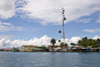 Panama - Bocas del Toro - Isla Colon - radio antenna on the waterfront - photo by H.Olarte