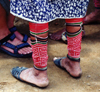 Panama - comarca Kuna Yala - San Blas Islands - Achutupo island: leg wrappings of a Kuna woman - photo by G.Frysinger