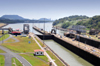 Panama Canal: Miraflores locks - looking towards Port Balboa and Ancon Hill - swing bridge - photo by M.Torres