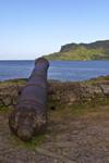 Fuerte de Santiago de la Gloria - cannon aimed at the sea, Portobello Panama - photo by H.Olarte
