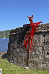 Fuerte de San Jeronimo - walls and devil, Portobello, Col�n, Panama, Central America, during the bi-annual Devils and Congos festival - Diablos y Congos - photo by H.Olarte