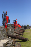 Fuerte de San Jeronimo - cannons and flags, Portobello, Col�n, Panama, Central America, during the bi-annual Devils and Congos festival - UNESCO World Heritage Site - photo by H.Olarte