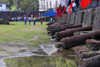 Fuerte de San Jeronimo - row of Spanish cannons, Portobello, Col�n, Panama, Central America, during the bi-annual Devils and Congos festival - photo by H.Olarte