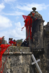 Fuerte de San Jeronimo - guerite, cross and devil's flags, Portobello, Col�n, Panama, Central America, during the bi-annual Devils and Congos festival - photo by H.Olarte