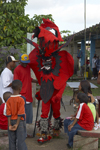 Diablito - Congo culture man dressed as devil during the meeting of congos and devils at Portobello. The devil costume represents the Spanish oppressor during the colonial era. - photo by H.Olarte