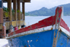 blue boat and restaurant - Isla Grande, Col�n, Panama, Central America - photo by H.Olarte