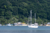 yacht and forest - Isla Grande, Col�n, Panama, Central America - photo by H.Olarte