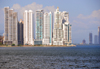Panama City / Ciudad de Panama: Punta Pacifica skyline from las las Bovedas - skyscrapers and Panama bay - Torre Aqualina on the left, architect Fajardo Moreno - Bahia Pacifica 2nd right, architect George Moreno - location of the new Trump tower - photo by M.Torres