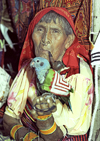 Panama - comarca Kuna Yala - San Blas Islands: Kuna woman smoking a pipe - photo by A.Walkinshaw