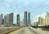 Panama City / Ciudad de Panama: the city as seen from the Corredor Sur Highway - motorway - photo by H.Olarte