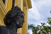 Panama City / Ciudad de Panama: face of a chimera at the entrance to the Instituto Nacional - photo by H.Olarte