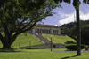 Panama canal: corutu tree and Panama Canal Authority Administration building - landscape architect William Lyman Phillips - Balboa - photo by H.Olarte