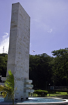 Panama canal: Goethals monument - fountain with a monolith in white marble, representing the Continental Divide with shelves on each side for the Canal locks, from which the waters of Gatun Lake pour into the two oceans - Balboa - photo by H.Olarte