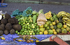Santiago de Veraguas, Panama: yams, limes, corn, oranges, bananas and chayotes for sale at El Mosquero market - photo by H.Olarte