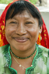 Panama - Panama City - smiling Kuna woman - photo by D.Smith