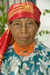 Panama - Panama City - Kuna woman  with nose piercing - photo by D.Smith